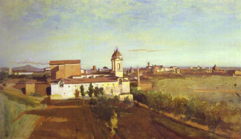 The Church of Trinità dei Monti Seen from the Villa Medici, Oil by Jean Baptiste Camille Corot (1796-1875, France)