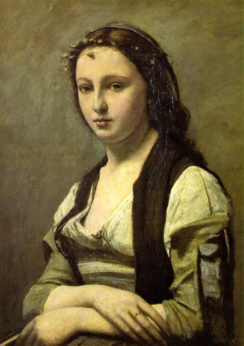 The Woman with the Pearl, Oil by Jean Baptiste Camille Corot (1796-1875, France)