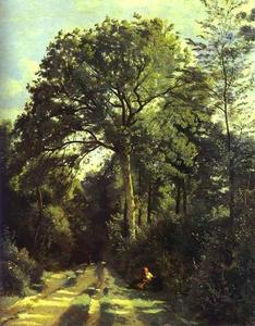 Jean Baptiste Camille Corot - Ville-d'Array_Entrance to the Wood with a Girl Tending Cows