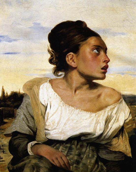 Girl Seated in a Cemetery, Oil by Eugène Delacroix (1798-1863, France)