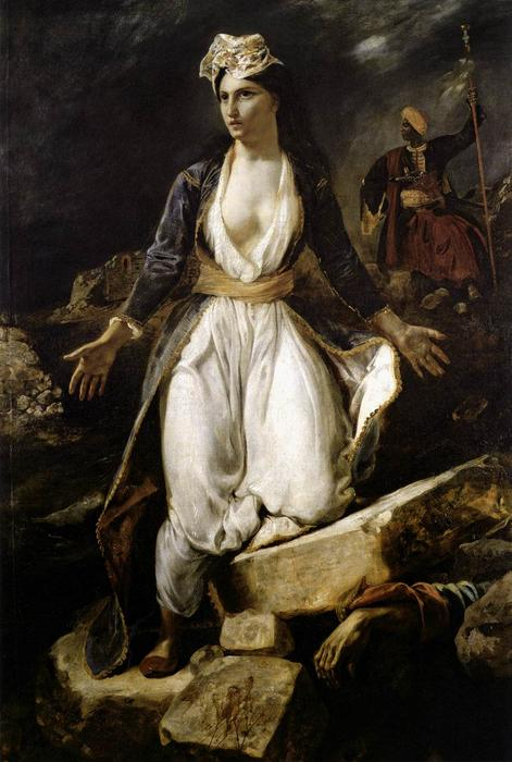 Greece on the Ruins of Missolonghi, Oil On Canvas by Eugène Delacroix (1798-1863, France)