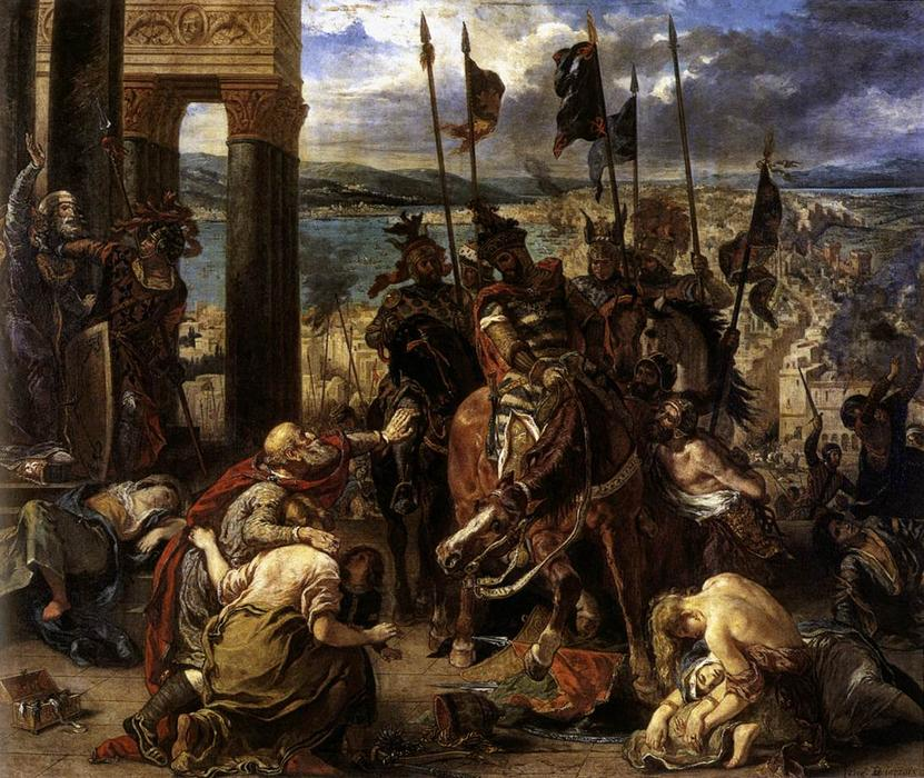 The Entry of the Crusaders into Constantinople by Eugène Delacroix (1798-1863, France) | Museum Quality Reproductions | WahooArt.com