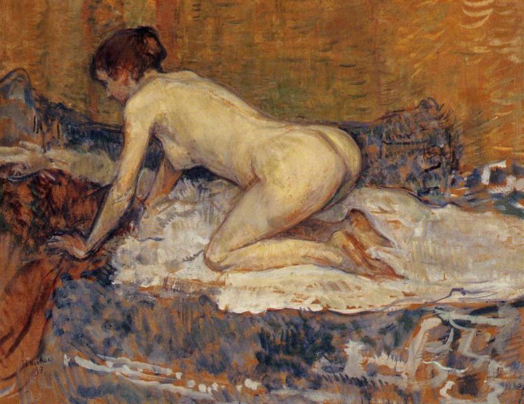 Crouching Woman with Red Hair, 1897 by Henri De Toulouse Lautrec (1864-1901, France) | Museum Quality Copies Henri De Toulouse Lautrec | WahooArt.com