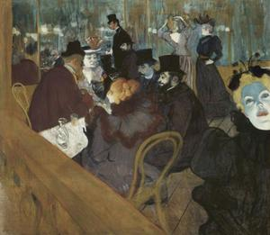 Henri De Toulouse Lautrec - Self-portrait in the crowd, at the Moulin Rouge