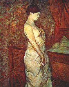 Henri De Toulouse Lautrec - Woman in a Chemise Standing by a Bed