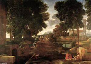 Nicolas Poussin - A Roman Road - (Famous paintings reproduction)