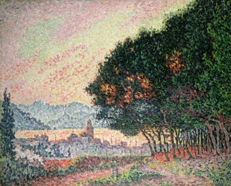 Forest near St. Tropez, Oil by Paul Signac (1863-1935, France)