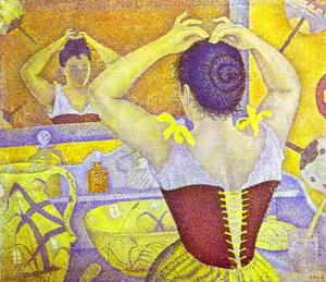 Paul Signac - Woman at her toilette wearing a purple corset