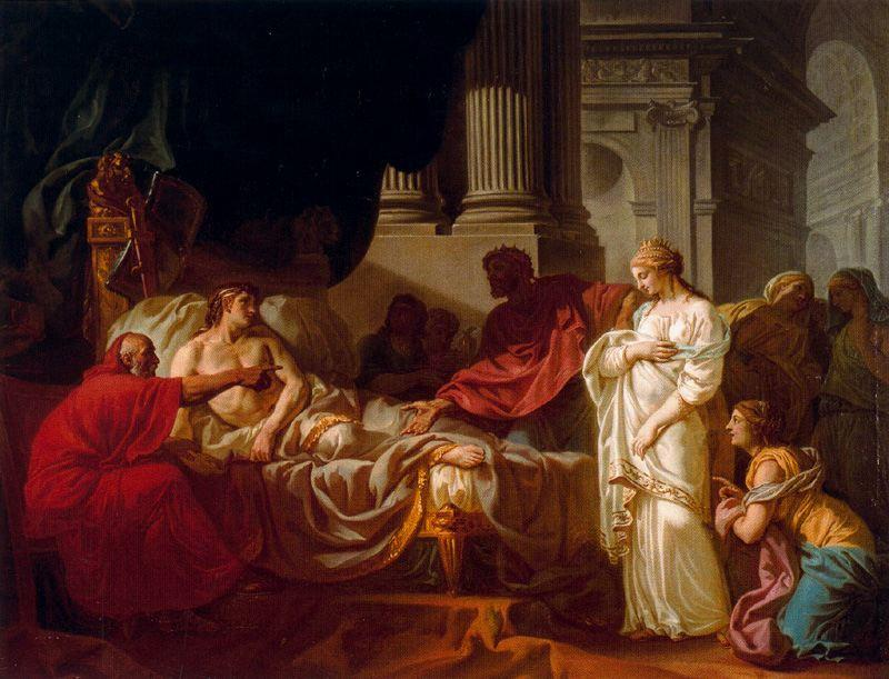 Antiochus and Stratonice, Oil On Canvas by Jean Auguste Dominique Ingres (1780-1867, France)