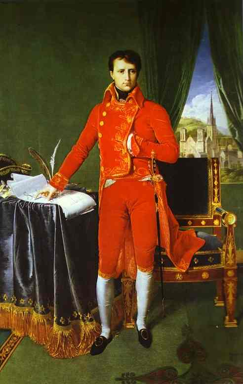 Portrait of Napoléon Bonaparte, The First Council, Oil by Jean Auguste Dominique Ingres (1780-1867, France)