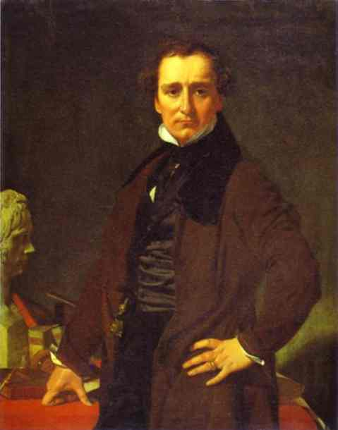 Portrait of the Sculptor Lorenzo Bartolini, Oil On Canvas by Jean Auguste Dominique Ingres (1780-1867, France)