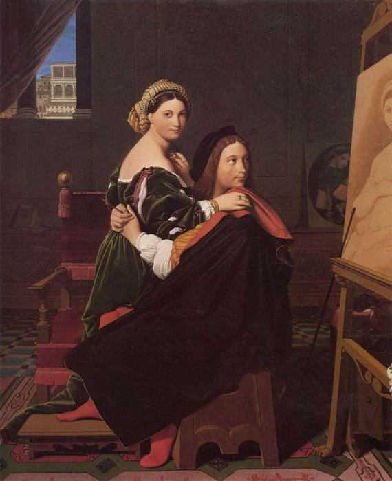 Raphael and the Fornarina, Oil On Canvas by Jean Auguste Dominique Ingres (1780-1867, France)