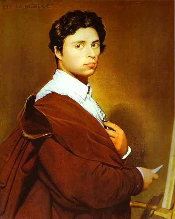 Self-portrait at age 24, Oil by Jean Auguste Dominique Ingres (1780-1867, France)