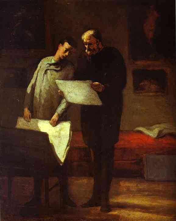 Advice to a Young Artist, Oil by Honoré Daumier (1808-1879, France)