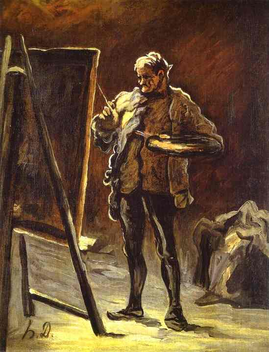 Artist in front of His Canvas, Oil by Honoré Daumier (1808-1879, France)
