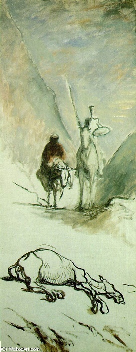 Don Quixote and the Dead Mule by Honoré Daumier (1808-1879, France) | WahooArt.com