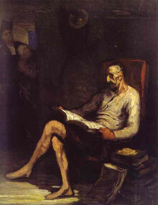 Don Quixote Reading, Oil by Honoré Daumier (1808-1879, France)