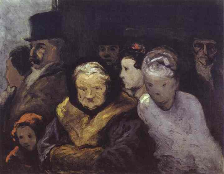 Exit from the Theatre, Oil by Honoré Daumier (1808-1879, France)