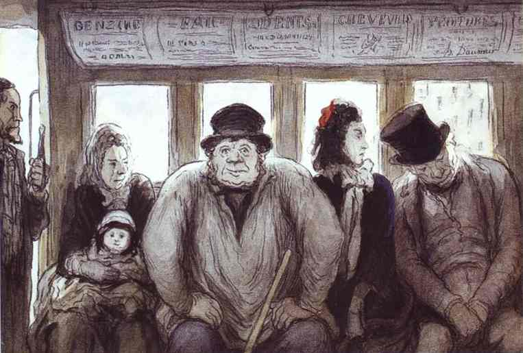 In the Omnibus, Oil by Honoré Daumier (1808-1879, France)