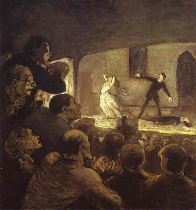 In the Theater, Oil by Honoré Daumier (1808-1879, France)
