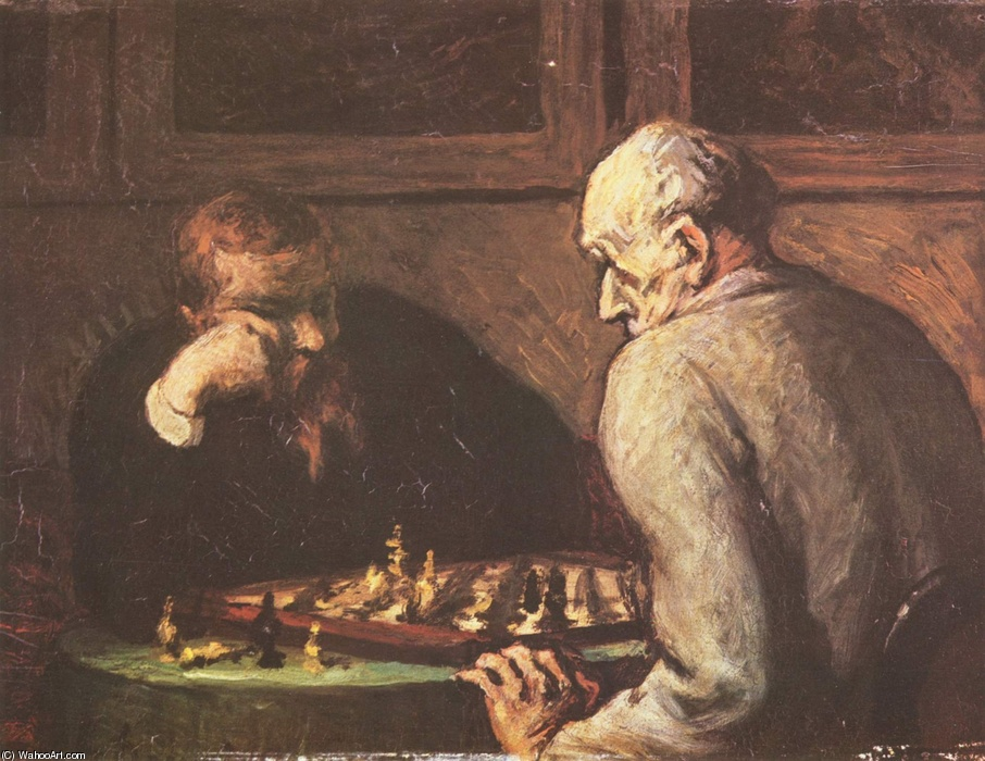 Les Joueurs d'échecs (The chess players) by Honoré Daumier (1808-1879, France) | WahooArt.com