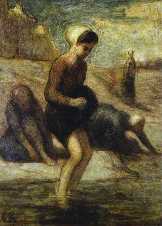 On the Shore, Oil by Honoré Daumier (1808-1879, France)