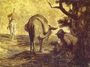 Honoré Daumier - Sancho Pansa Going for a Call of Nature
