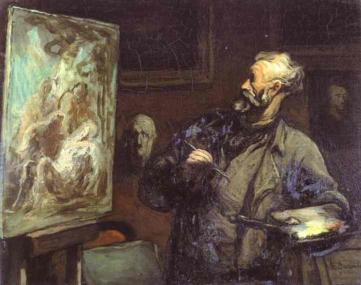 The Artist, Oil by Honoré Daumier (1808-1879, France)
