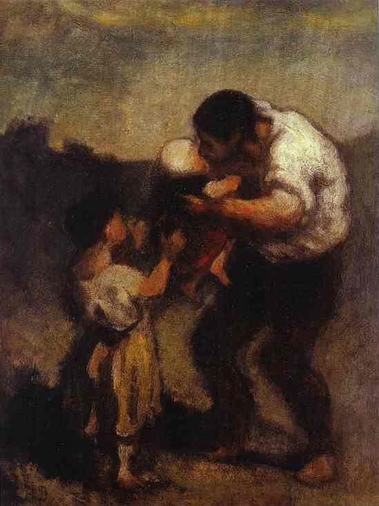 The Kiss, Oil by Honoré Daumier (1808-1879, France)