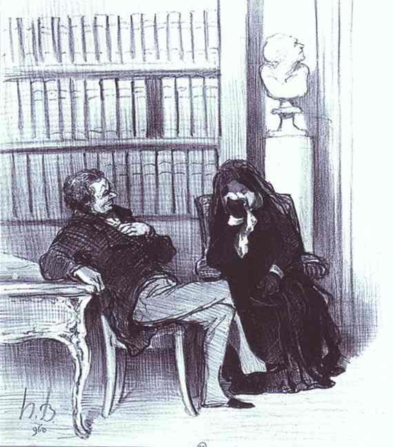The Widow at a Consultation. From the Series Les Gens de justice, Oil by Honoré Daumier (1808-1879, France)