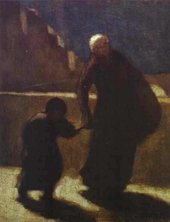 Woman and Child on a Bridge, Oil by Honoré Daumier (1808-1879, France)