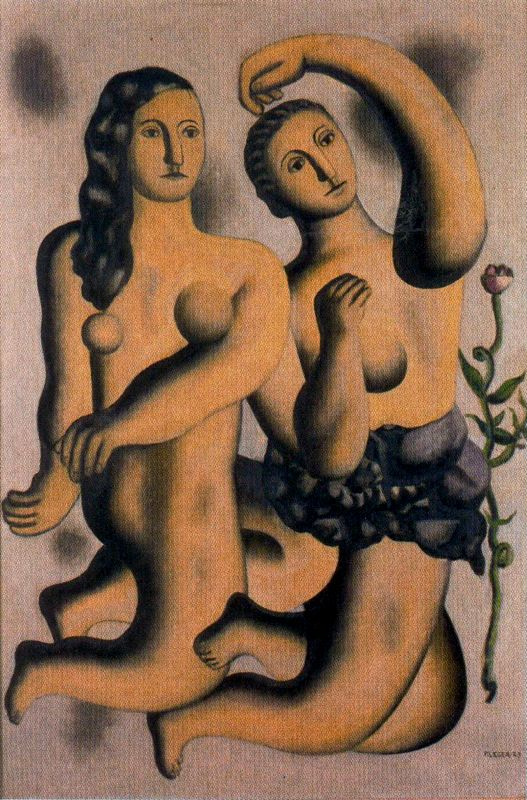 The dance1, Oil by Fernand Leger (1881-1955, France)