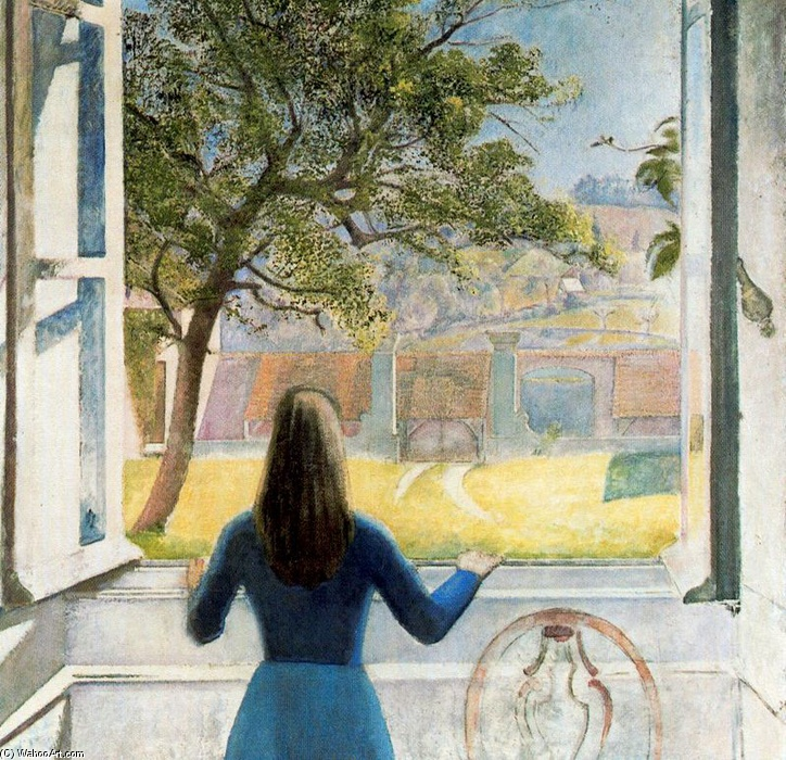 Girl at the window oil by balthus balthasar klossowski for Fille a la fenetre