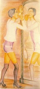 Balthus (Balthasar Klossowski) - Roberte in the mirror