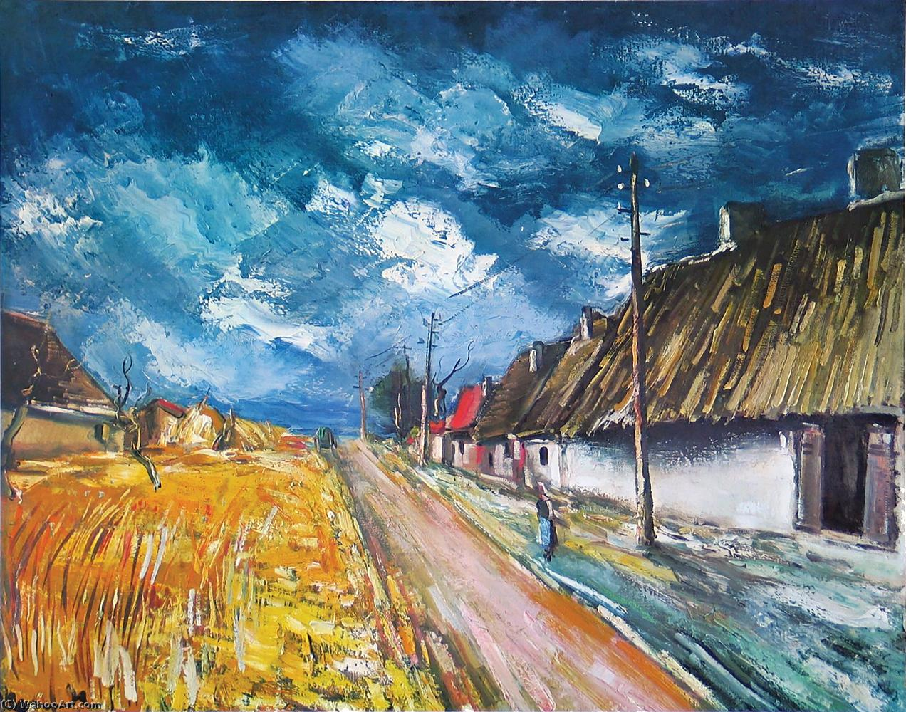 Thatched Cottages at the Roadside by Maurice De Vlaminck (1876-1958, France) | Museum Quality Reproductions | WahooArt.com