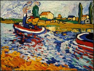 Maurice De Vlaminck - Tugboat on the Seine, Chatou