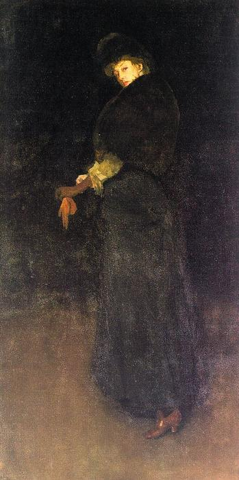 Arrangement in Black, The Lady in the Yellow Buskin- Portrait of Lady Archibald Campbell, Oil by James Abbott Mcneill Whistler (1834-1903, United States)