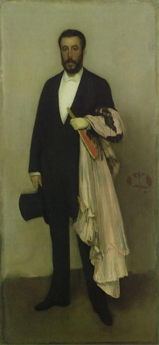 Arrangement in Flesh Colour and Black, Portrait of Theodore Duret, Oil by James Abbott Mcneill Whistler (1834-1903, United States)