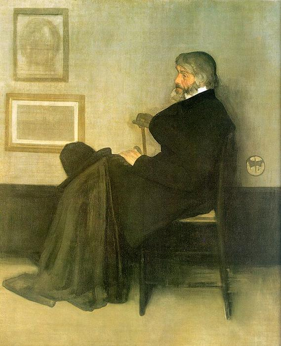 Arrangement in Grey and Black Number 2, Portrait of Thomas Carlyle, Oil by James Abbott Mcneill Whistler  (order Fine Art Hand Painted Oil Painting James Abbott Mcneill Whistler)