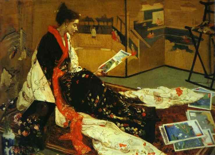 Caprice in Purple and Gold No 2 - The Golden Screen, Oil by James Abbott Mcneill Whistler (1834-1903, United States)