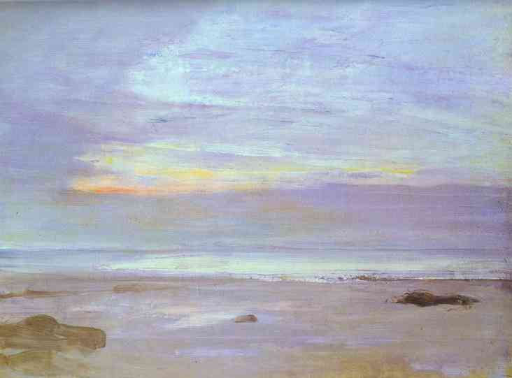 Crepuscule in Opal, Trouville, Oil by James Abbott Mcneill Whistler (1834-1903, United States)