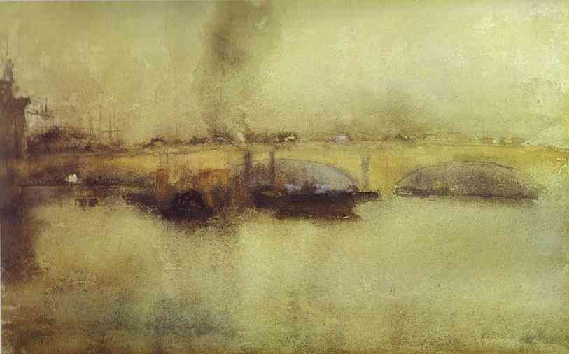 London bridge&;, oil by james abbott mcneill whistler (1834-1903
