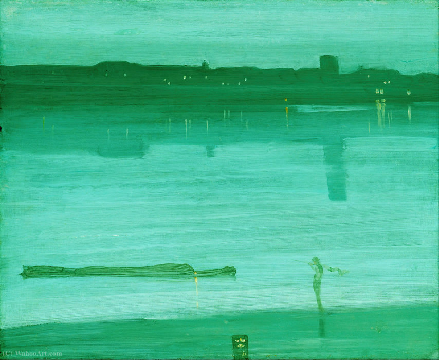 Nocturne in Blue and Green, Chelsea, Oil by James Abbott Mcneill Whistler (1834-1903, United States)