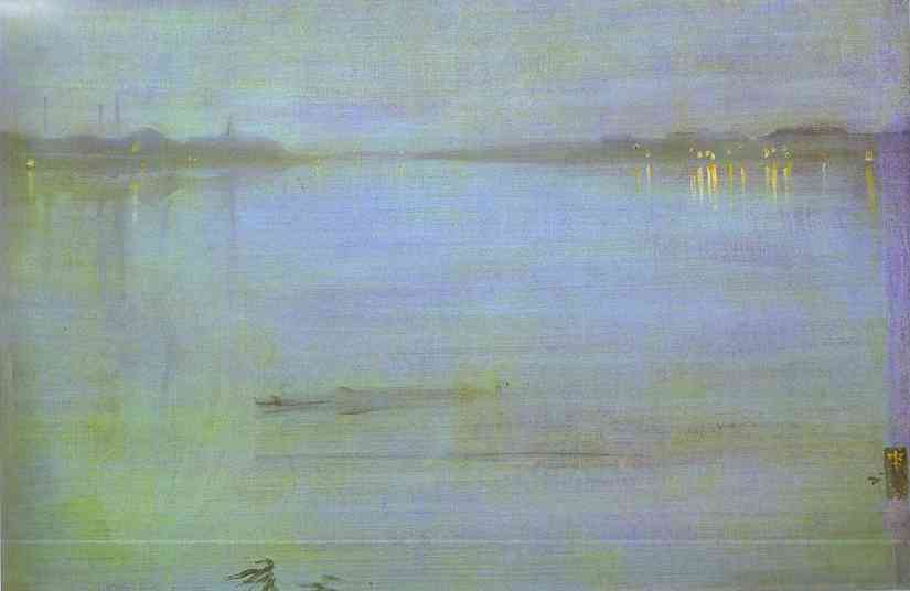 Nocturne, Blue and Silver - Cremorne Lights, Oil by James Abbott Mcneill Whistler (1834-1903, United States)