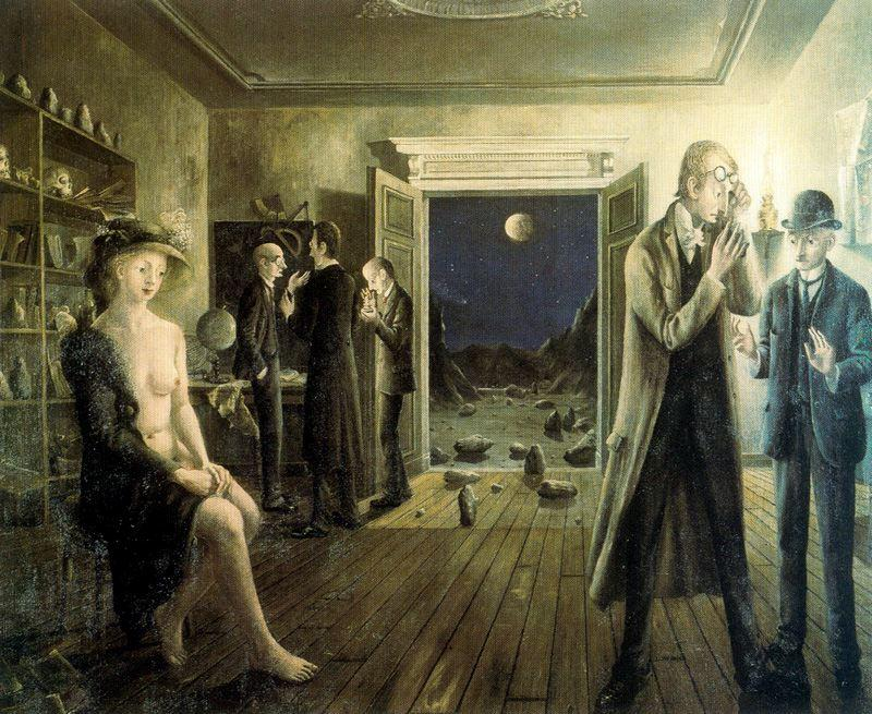 Phases of the Moon II by Paul Delvaux (1897-1994, Belgium) | Famous Paintings Reproductions | WahooArt.com