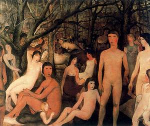 Paul Delvaux - Series characters naked in a forest