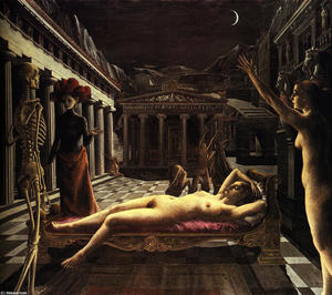 Paul Delvaux - The Sleeping Venus - (paintings reproductions)