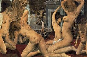Paul Delvaux - Tumultuos Girls