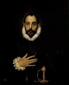 El Greco (Doménikos Theotokopoulos) - Portrait of a Nobleman with His Hand on His Chest