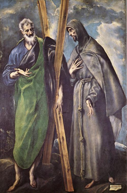 St. Andrew and St. Francis, Oil by El Greco (Doménikos Theotokopoulos) (1541-1614, Greece)